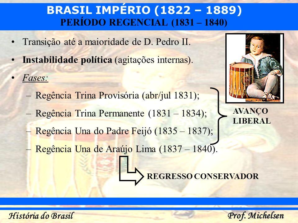 BRASIL IMPÉRIO (1822 – 1889) Prof. Michelsen História do Brasil PERÍODO REGENCIAL (1831 – 1840) Transição até a maioridade de D. Pedro II. Instabilida