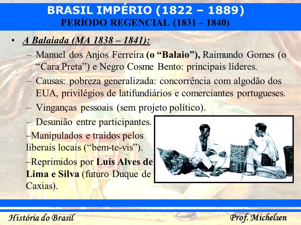 BRASIL IMPÉRIO (1822 – 1889) Prof. Michelsen História do Brasil PERÍODO REGENCIAL (1831 – 1840) A Balaiada (MA 1838 – 1841): –Manuel dos Anjos Ferreir