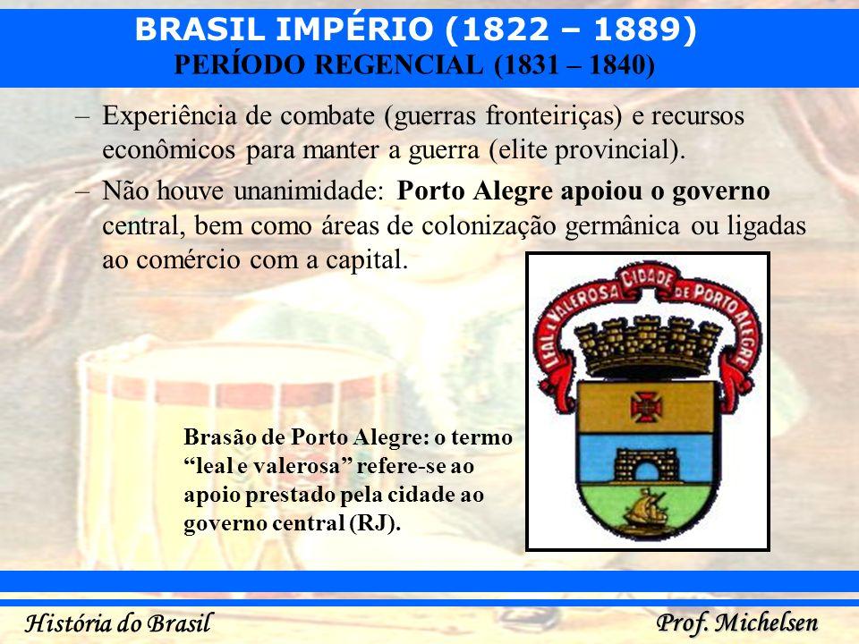 BRASIL IMPÉRIO (1822 – 1889) Prof. Michelsen História do Brasil PERÍODO REGENCIAL (1831 – 1840) –Experiência de combate (guerras fronteiriças) e recur