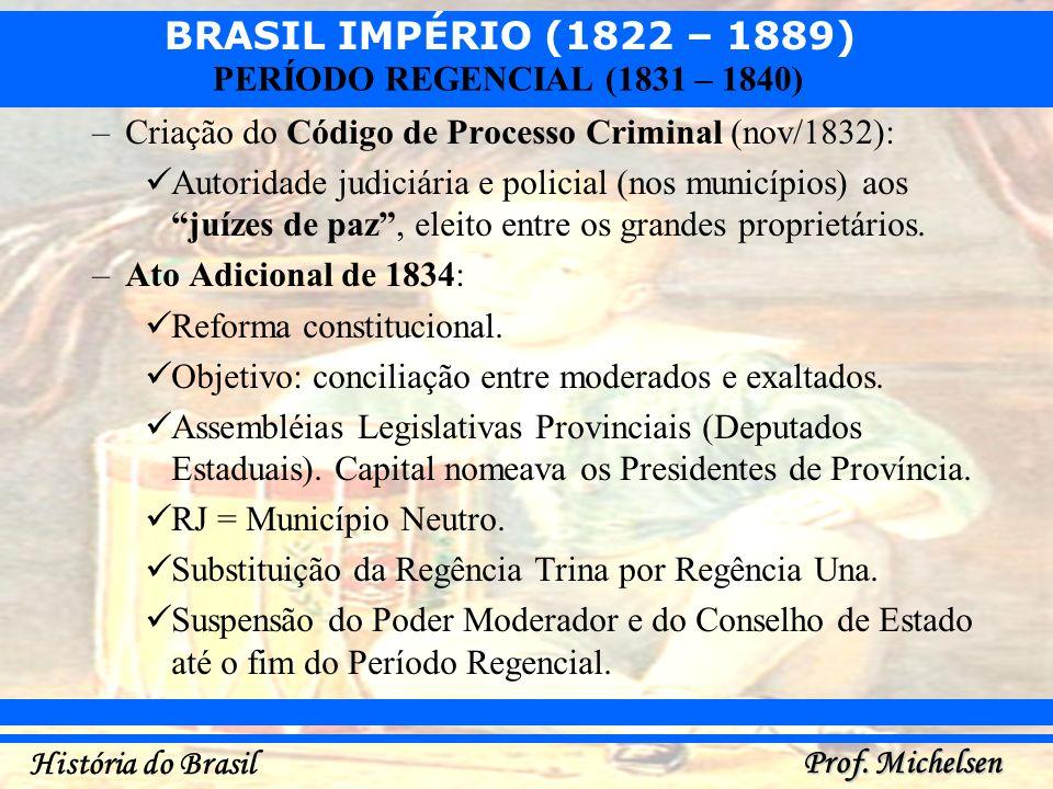 BRASIL IMPÉRIO (1822 – 1889) Prof. Michelsen História do Brasil PERÍODO REGENCIAL (1831 – 1840) –Criação do Código de Processo Criminal (nov/1832): Au
