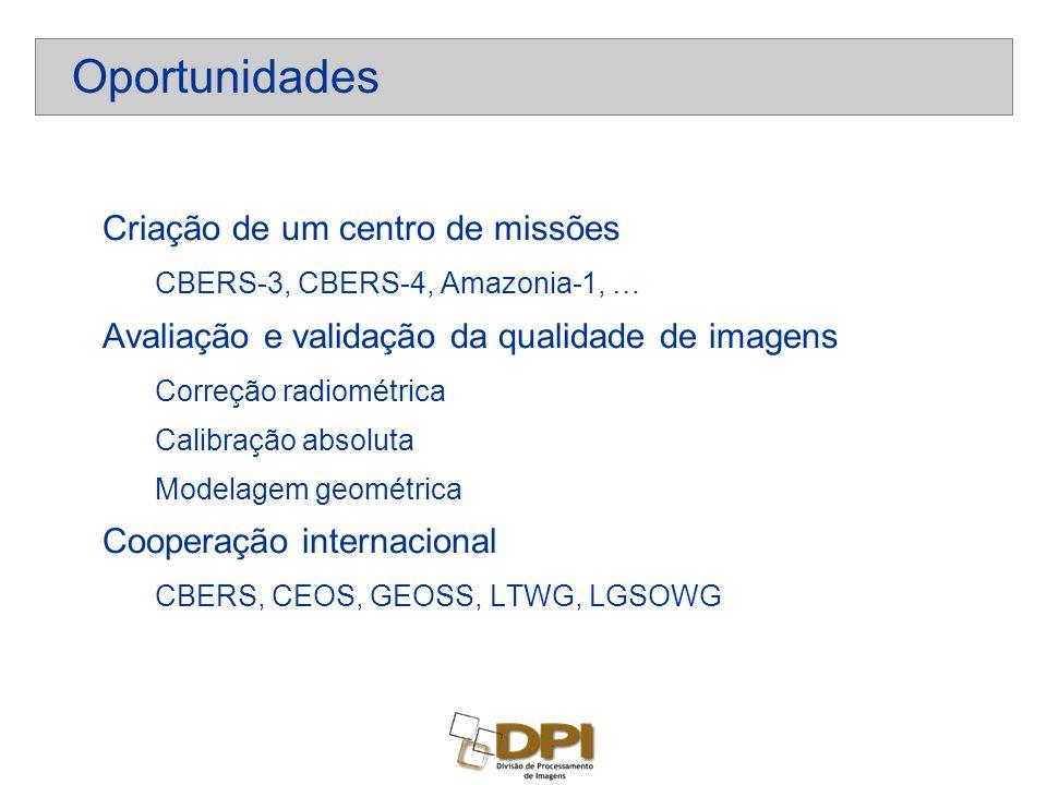 Criação de um centro de missões CBERS-3, CBERS-4, Amazonia-1, … Avaliação e validação da qualidade de imagens Correção radiométrica Calibração absoluta Modelagem geométrica Cooperação internacional CBERS, CEOS, GEOSS, LTWG, LGSOWG Oportunidades