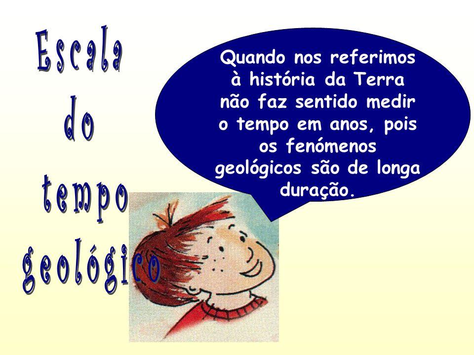 Quando nos referimos à história da Terra não faz sentido medir o tempo em anos, pois os fenómenos geológicos são de longa duração.