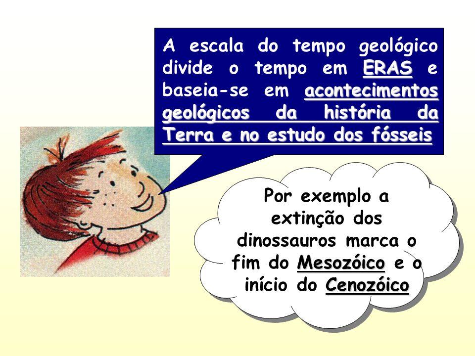 ERAS acontecimentos geológicos da história da Terra e no estudo dos fósseis A escala do tempo geológico divide o tempo em ERAS e baseia-se em aconteci