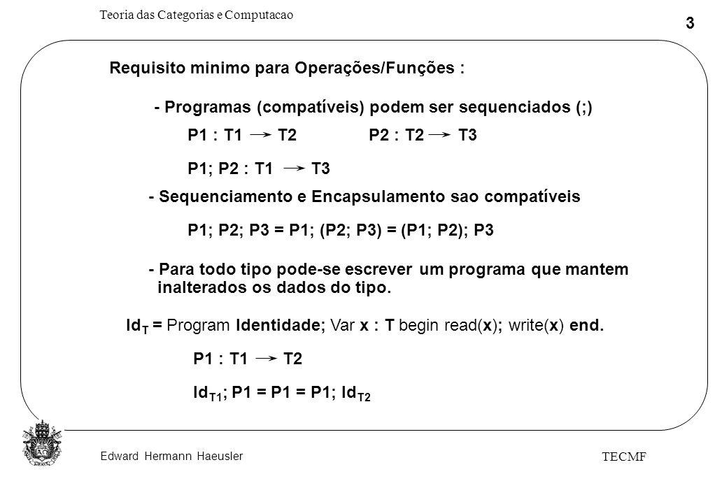 Edward Hermann Haeusler Teoria das Categorias e Computacao 4 TECMF Def: Uma Categoria C é definida como uma coleção de objetos OBJ(C) e uma coleção de morfismos Hom(C) juntamente com uma operação t.q.