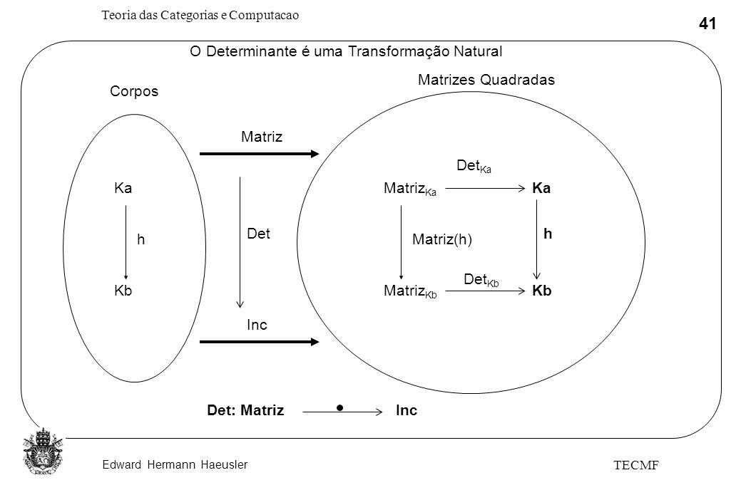 Edward Hermann Haeusler Teoria das Categorias e Computacao 41 TECMF O Determinante é uma Transformação Natural Corpos Ka Kb h Matriz Ka Matriz Kb Det: