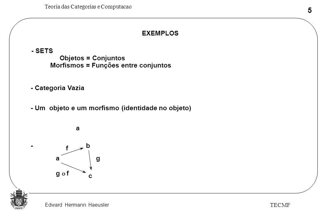 Edward Hermann Haeusler Teoria das Categorias e Computacao 5 TECMF EXEMPLOS - SETS Objetos = Conjuntos Morfismos = Funções entre conjuntos - Categoria