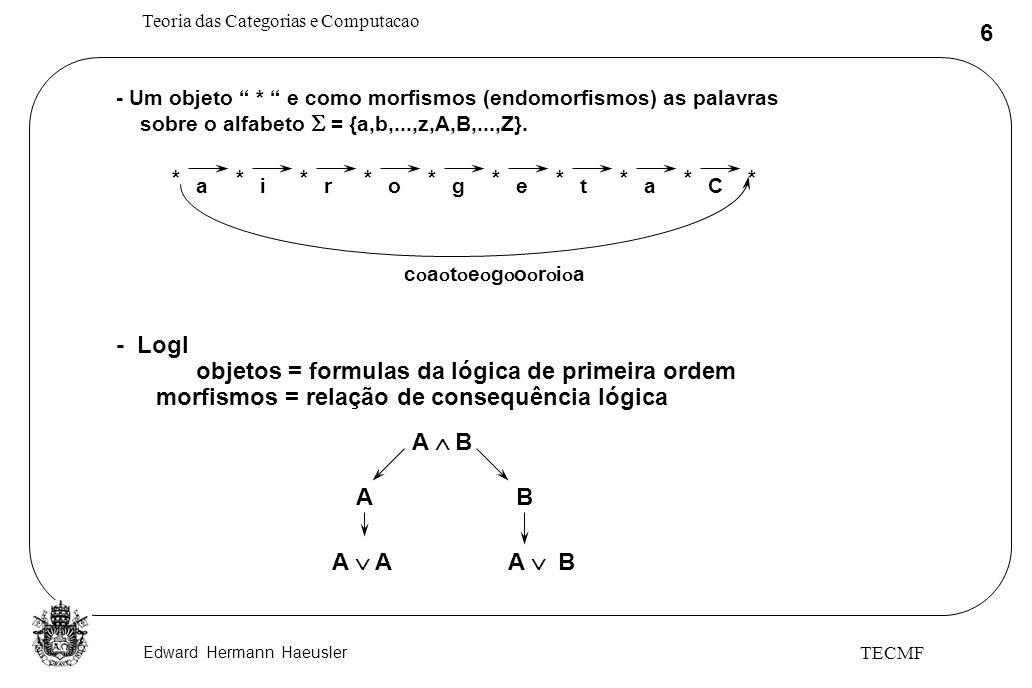 Edward Hermann Haeusler Teoria das Categorias e Computacao 47 TECMF Semântica de TADs bool ~ t f ~t = f ~ ~b = b b t = b b f = f b ~b= f b ~b = t t f Novo C C(x) = ~C(x) [x:novo] D com produtos [[bool]] ~ [[bool]] x [[bool]] [[bool]] ~ [[bool]] x [[bool]] [[bool]] ~ 1 t f 1 f