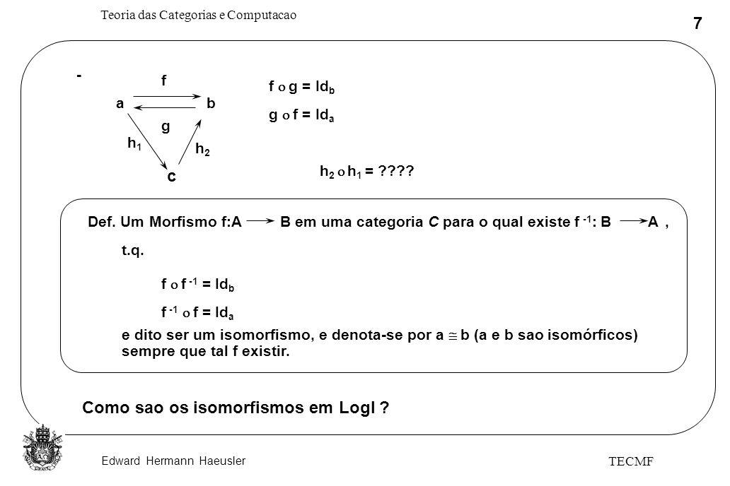 Edward Hermann Haeusler Teoria das Categorias e Computacao 48 TECMF ===> Sets não serve como interpretação (útil) para o TAD anterior ===> Não existe funtor de TAD para Sets preservando produtos, objetos terminais e os diagramas essenciais, pois : C(x) = ~C(x) [x:novo] [[Novo]] [[bool]] ~ C C 1 e f t [[Novo]] = Inicial = Mas, em Sets [[Novo]] não precisa ser o objeto inicial A A A...........................