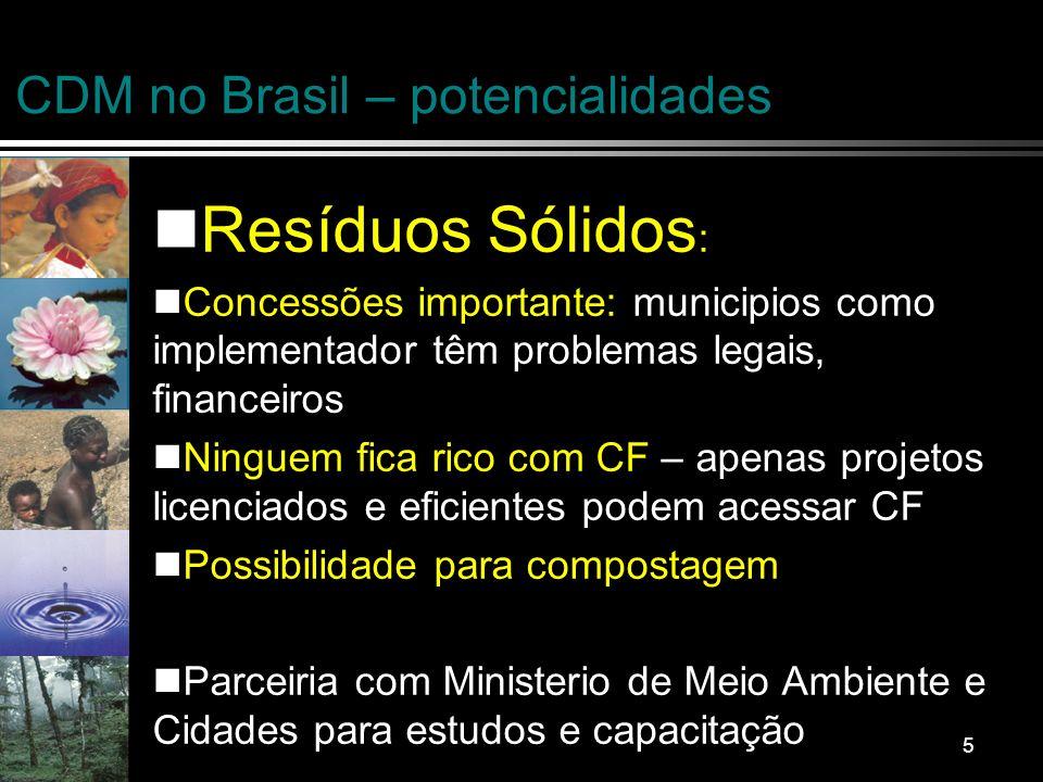 6 CDM no Brasil – potencialidades Suinocultura : Biodigestores – redução de metano e N2O: Escala importante – acima de 1,000 suinos Pequenos produtores dependem de intermediação de integradores – escala e preço de carbono importante Contratos a longo prazo