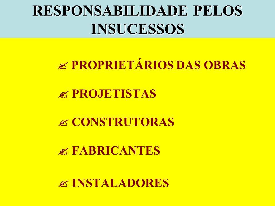 RESPONSABILIDADE PELOS INSUCESSOS PROPRIETÁRIOS DAS OBRAS PROJETISTAS CONSTRUTORAS FABRICANTES INSTALADORES