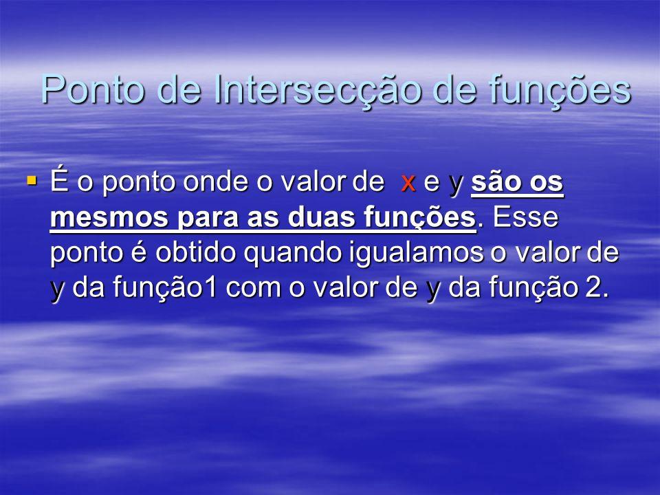 Ponto de Intersecção de funções É o ponto onde o valor de x e y são os mesmos para as duas funções. Esse ponto é obtido quando igualamos o valor de y