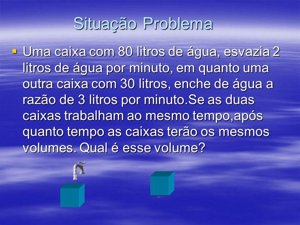 Uma caixa com 80 litros de água, esvazia 2 litros de água por minuto, em quanto uma outra caixa com 30 litros, enche de água a razão de 3 litros por m