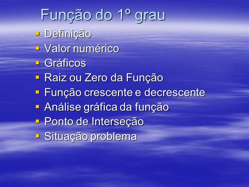 Função do 1º grau Definição Definição Valor numérico Valor numérico Gráficos Gráficos Raiz ou Zero da Função Raiz ou Zero da Função Função crescente e