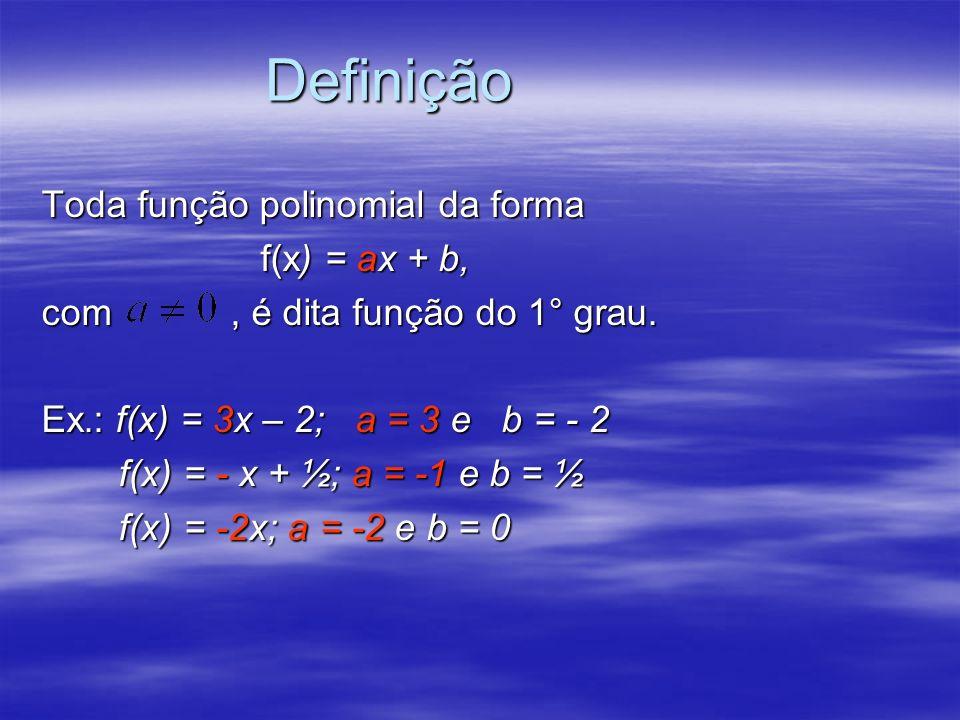 Definição Toda função polinomial da forma f(x) = ax + b, com, é dita função do 1° grau. Ex.: f(x) = 3x – 2; a = 3 e b = - 2 f(x) = - x + ½; a = -1 e b