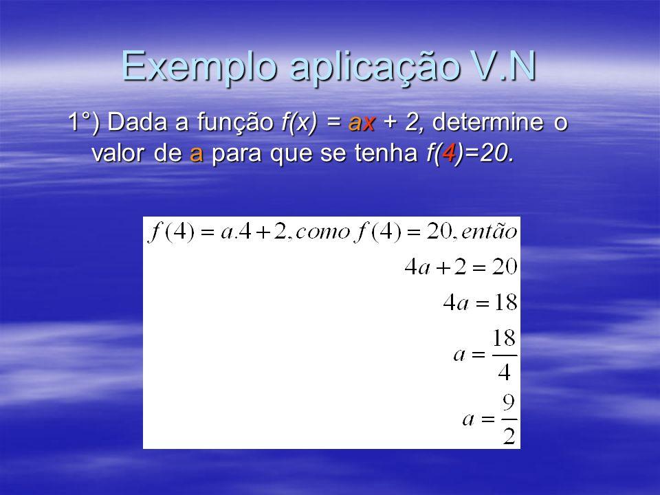 Exemplo aplicação V.N 1°) Dada a função f(x) = ax + 2, determine o valor de a para que se tenha f(4)=20.