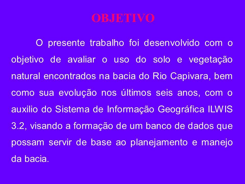 OBJETIVO O presente trabalho foi desenvolvido com o objetivo de avaliar o uso do solo e vegetação natural encontrados na bacia do Rio Capivara, bem co