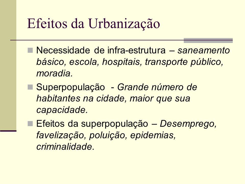 Efeitos da Urbanização Necessidade de infra-estrutura – saneamento básico, escola, hospitais, transporte público, moradia. Superpopulação - Grande núm