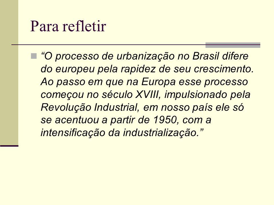 Para refletir O processo de urbanização no Brasil difere do europeu pela rapidez de seu crescimento. Ao passo em que na Europa esse processo começou n