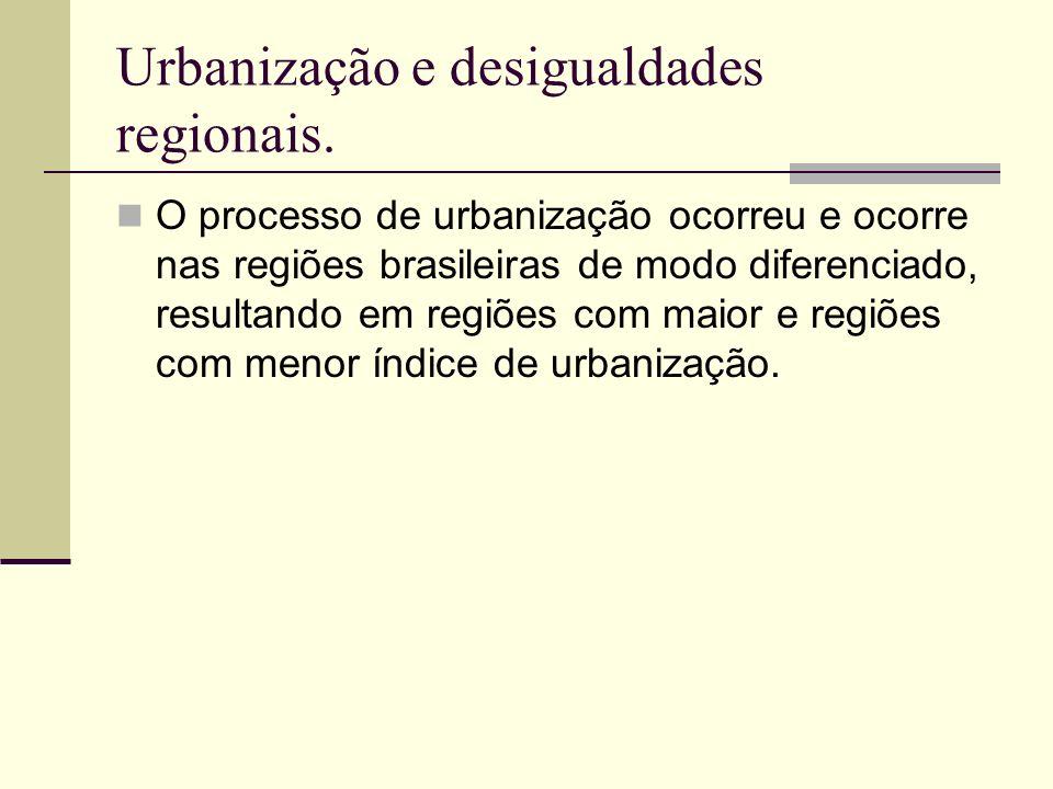 Urbanização e desigualdades regionais. O processo de urbanização ocorreu e ocorre nas regiões brasileiras de modo diferenciado, resultando em regiões