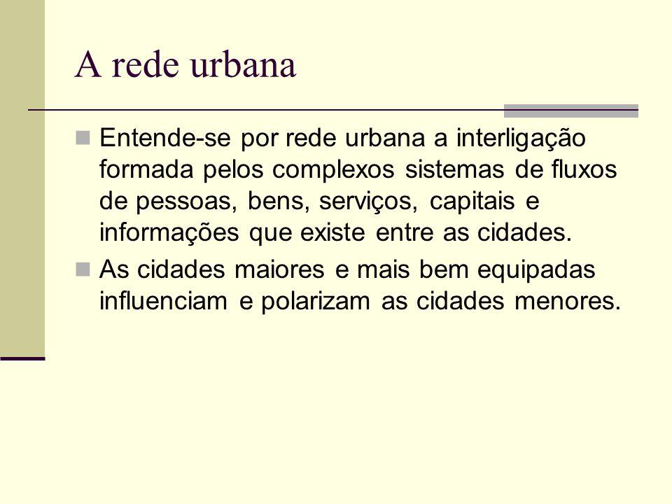 A rede urbana Entende-se por rede urbana a interligação formada pelos complexos sistemas de fluxos de pessoas, bens, serviços, capitais e informações