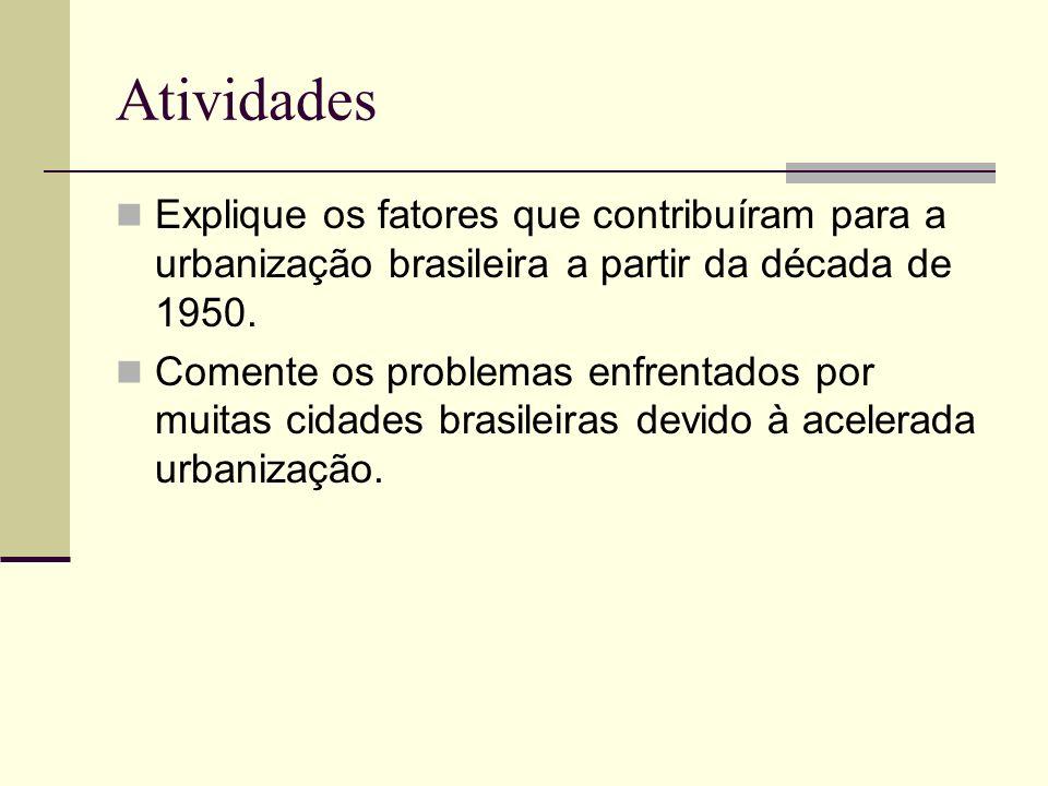 Atividades Explique os fatores que contribuíram para a urbanização brasileira a partir da década de 1950. Comente os problemas enfrentados por muitas