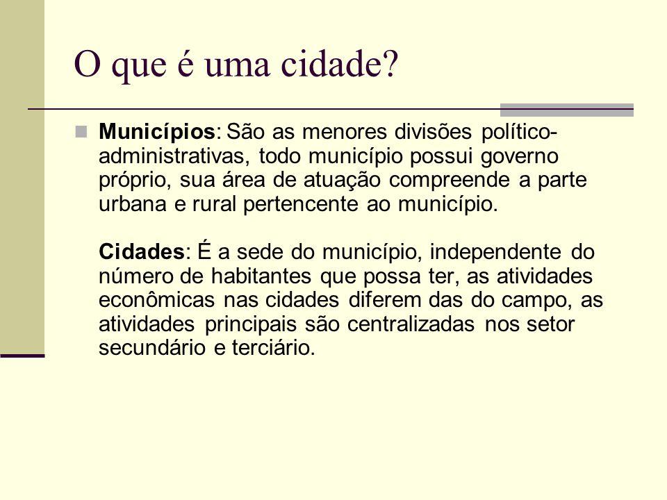 O que é uma cidade? Municípios: São as menores divisões político- administrativas, todo município possui governo próprio, sua área de atuação compreen