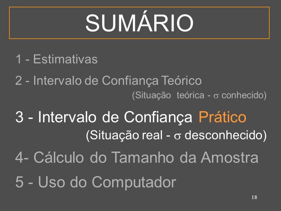 18 SUMÁRIO 1 - Estimativas 2 - Intervalo de Confiança Teórico (Situação teórica - conhecido) 3 - Intervalo de Confiança Prático (Situação real - desco