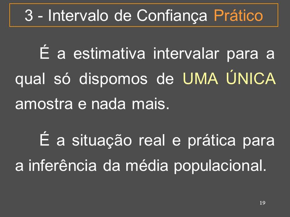 19 3 - Intervalo de Confiança Prático É a estimativa intervalar para a qual só dispomos de UMA ÚNICA amostra e nada mais. É a situação real e prática