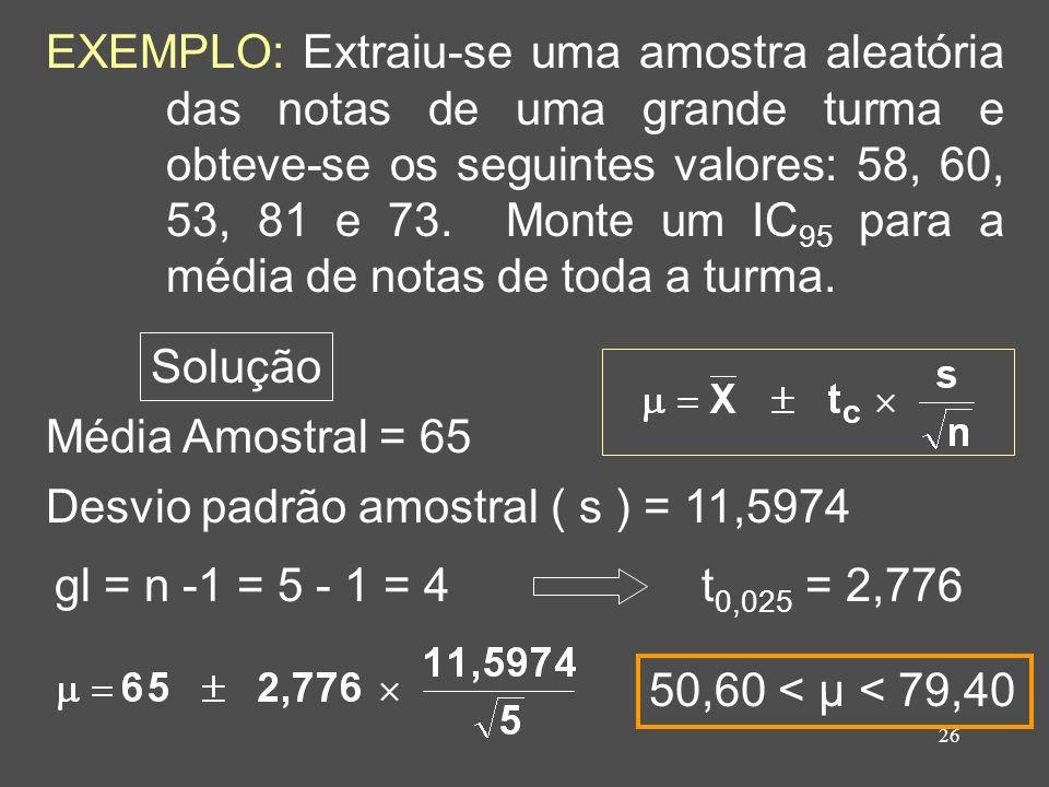 26 EXEMPLO: Extraiu-se uma amostra aleatória das notas de uma grande turma e obteve-se os seguintes valores: 58, 60, 53, 81 e 73. Monte um IC 95 para