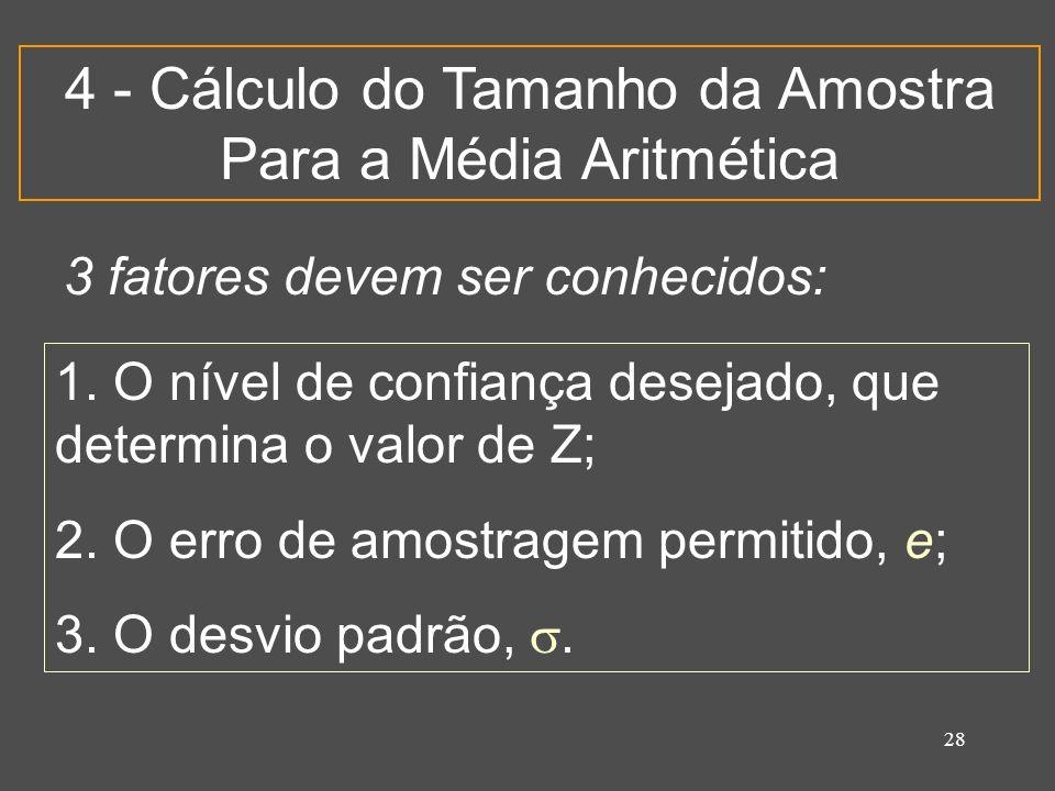 28 4 - Cálculo do Tamanho da Amostra Para a Média Aritmética 3 fatores devem ser conhecidos: 1. O nível de confiança desejado, que determina o valor d