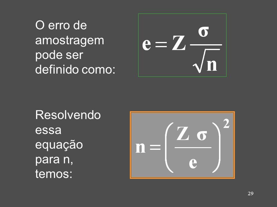 29 O erro de amostragem pode ser definido como: Resolvendo essa equação para n, temos: