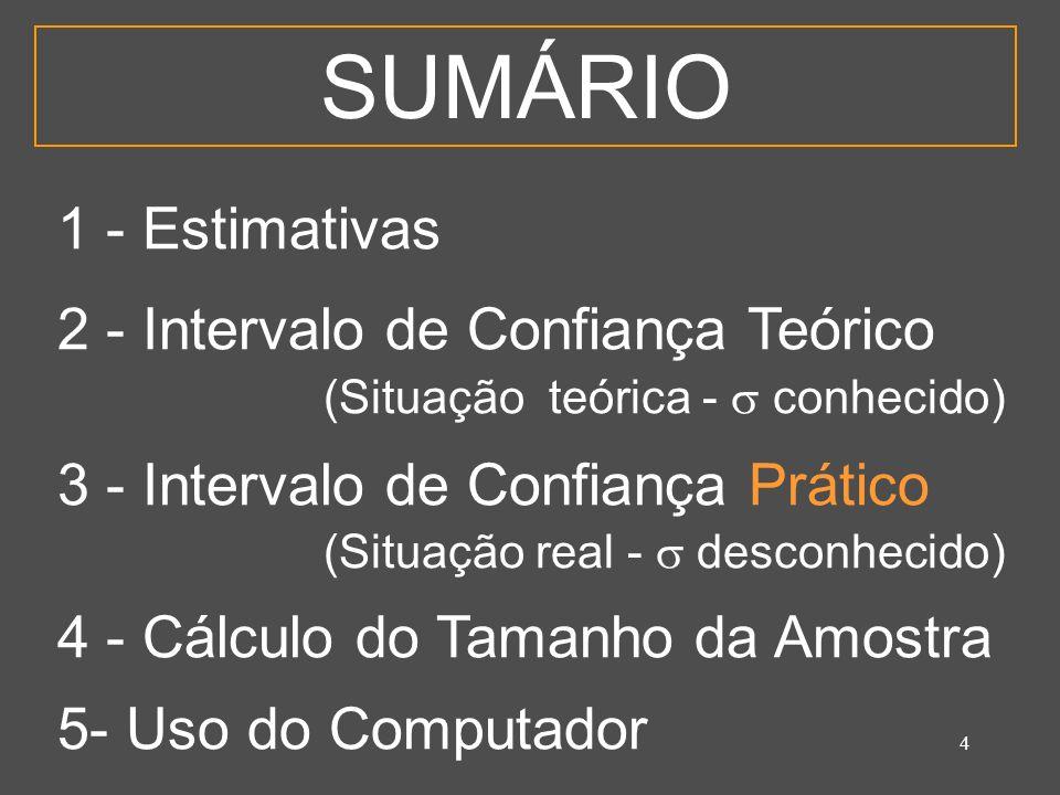 4 SUMÁRIO 1 - Estimativas 2 - Intervalo de Confiança Teórico (Situação teórica - conhecido) 3 - Intervalo de Confiança Prático (Situação real - descon