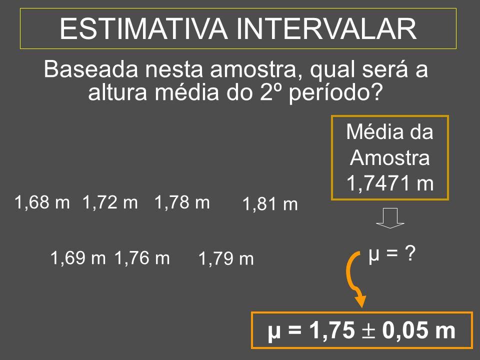 8 ESTIMATIVA INTERVALAR 1,69 m1,76 m 1,79 m 1,68 m1,72 m1,78 m 1,81 m Média da Amostra 1,7471 m µ = ? Baseada nesta amostra, qual será a altura média