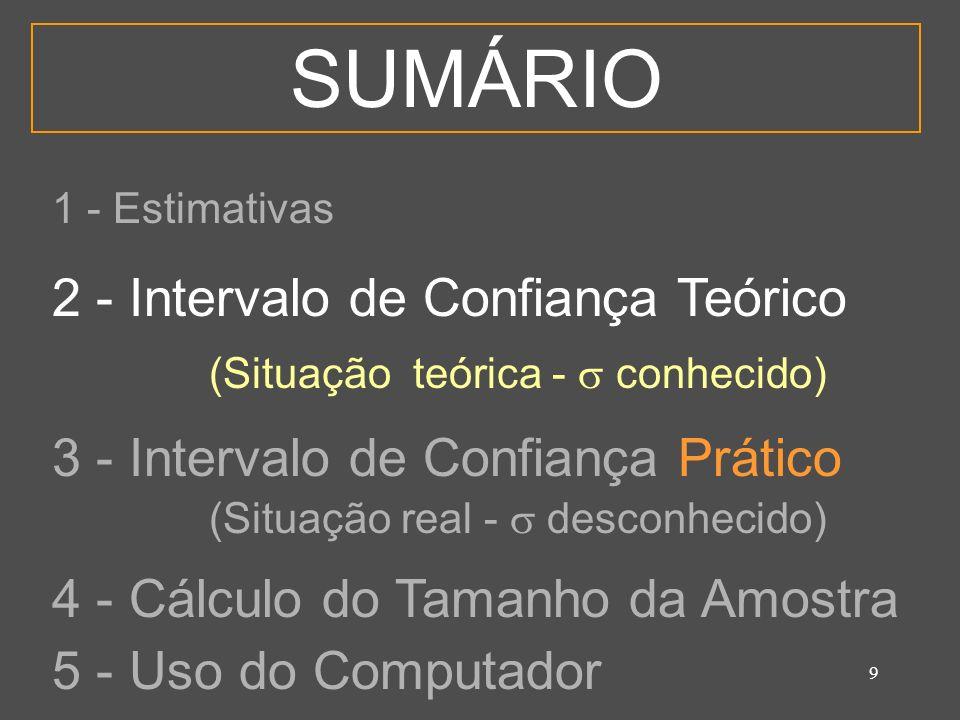 9 SUMÁRIO 1 - Estimativas 2 - Intervalo de Confiança Teórico (Situação teórica - conhecido) 3 - Intervalo de Confiança Prático (Situação real - descon