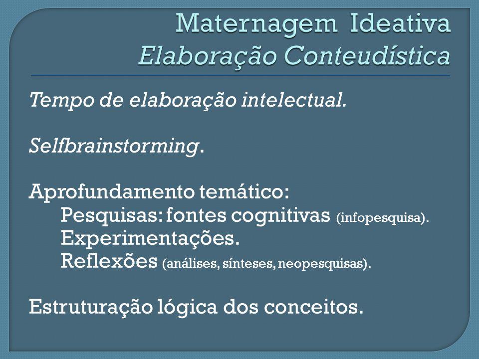 Tempo de elaboração intelectual. Selfbrainstorming. Aprofundamento temático: Pesquisas: fontes cognitivas (infopesquisa). Experimentações. Reflexões (