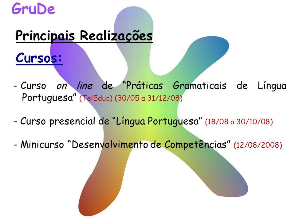 Principais Realizações - Curso on line de Práticas Gramaticais de Língua Portuguesa (TelEduc) (30/05 a 31/12/08) - Curso presencial de Língua Portugue