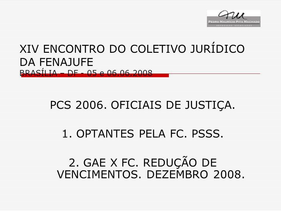 XIV ENCONTRO DO COLETIVO JURÍDICO DA FENAJUFE BRASÍLIA – DF - 05 e 06.06.2008 PCS 2006. OFICIAIS DE JUSTIÇA. 1. OPTANTES PELA FC. PSSS. 2. GAE X FC. R