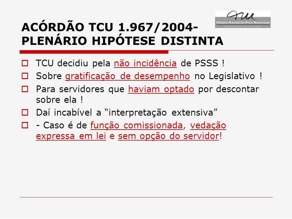 ACÓRDÃO TCU 1.967/2004- PLENÁRIO HIPÓTESE DISTINTA TCU decidiu pela não incidência de PSSS .