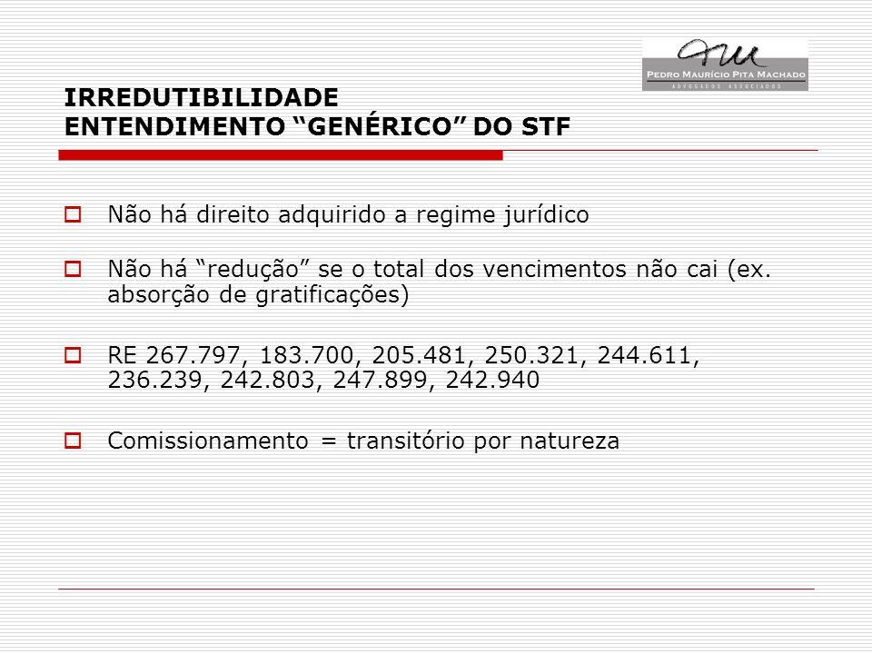 IRREDUTIBILIDADE ENTENDIMENTO GENÉRICO DO STF Não há direito adquirido a regime jurídico Não há redução se o total dos vencimentos não cai (ex.