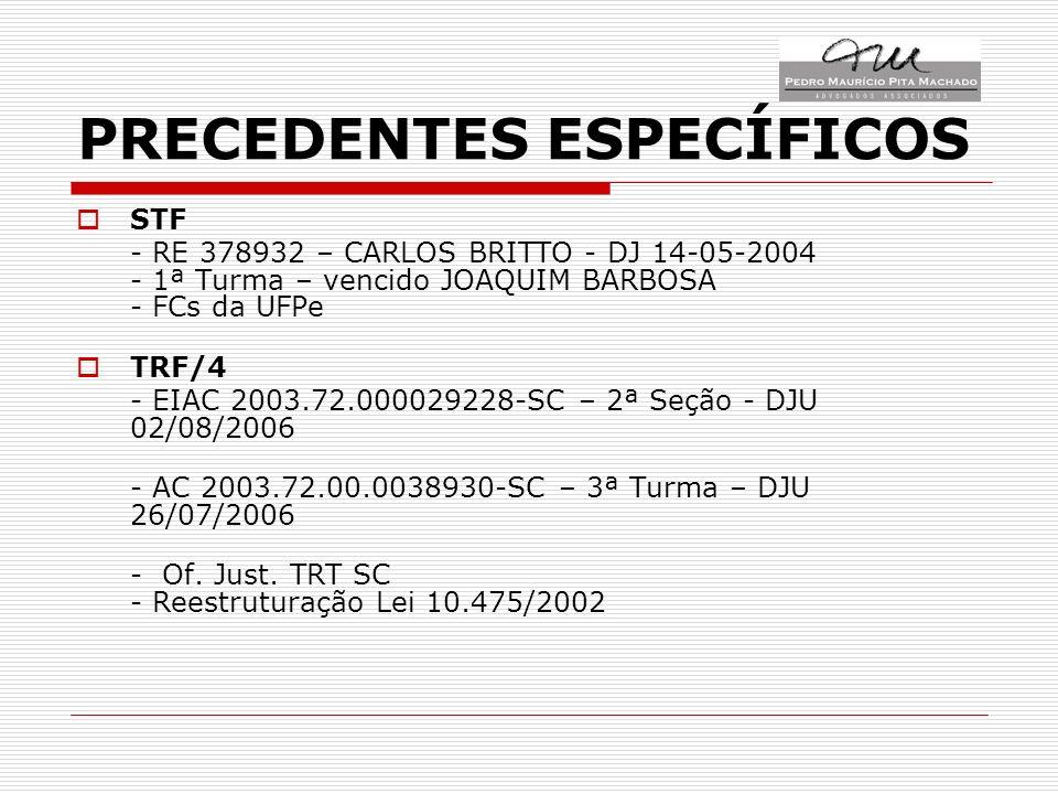 PRECEDENTES ESPECÍFICOS STF - RE 378932 – CARLOS BRITTO - DJ 14-05-2004 - 1ª Turma – vencido JOAQUIM BARBOSA - FCs da UFPe TRF/4 - EIAC 2003.72.000029