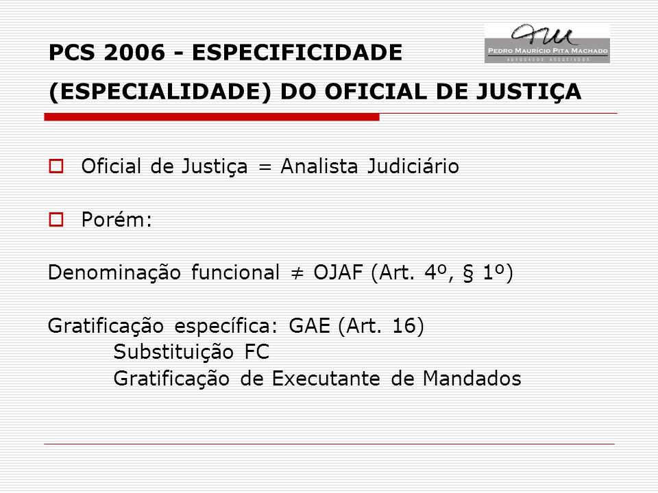 PCS 2006 - ESPECIFICIDADE (ESPECIALIDADE) DO OFICIAL DE JUSTIÇA Oficial de Justiça = Analista Judiciário Porém: Denominação funcional OJAF (Art.