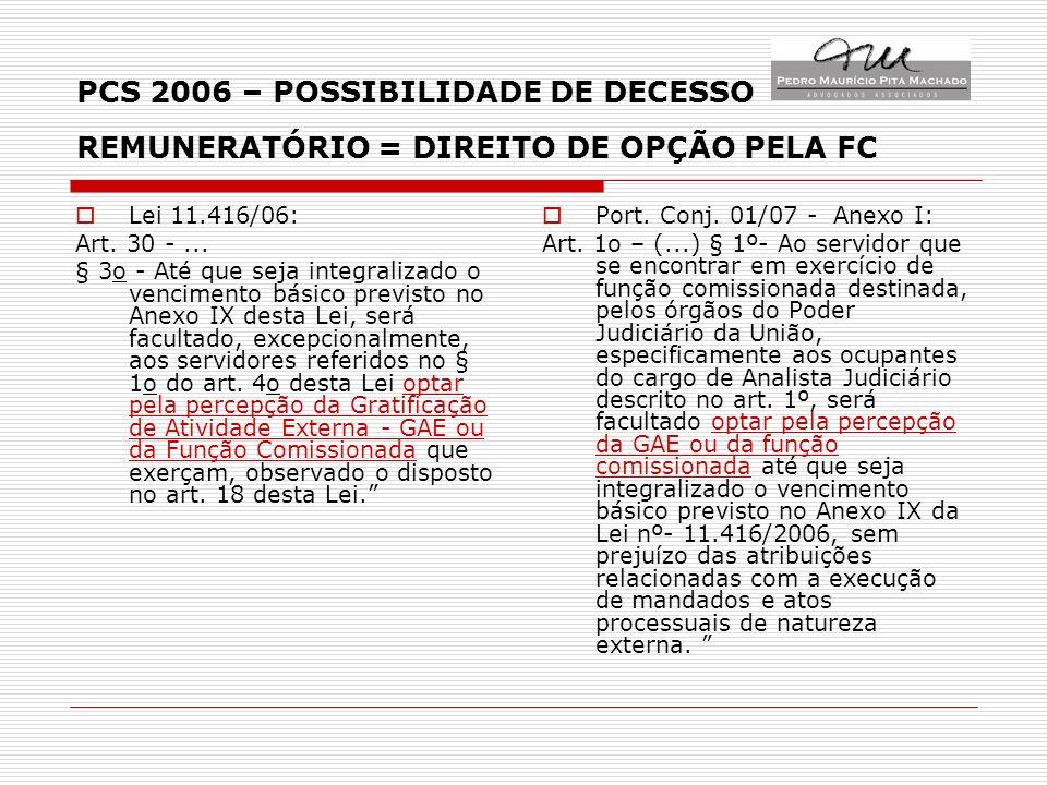 PCS 2006 – POSSIBILIDADE DE DECESSO REMUNERATÓRIO = DIREITO DE OPÇÃO PELA FC Lei 11.416/06: Art.