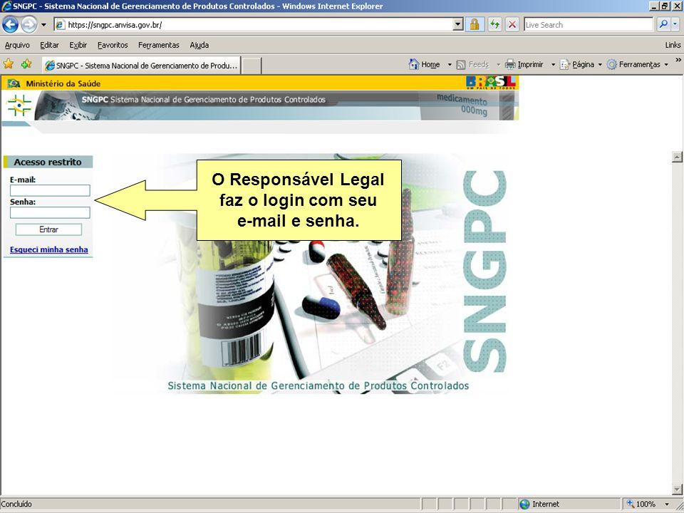 Agência Nacional de Vigilância Sanitária www.anvisa.gov.br O Responsável Legal faz o login com seu e-mail e senha.