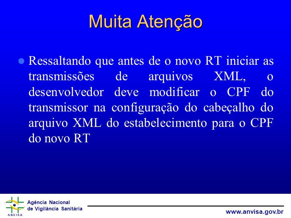 Agência Nacional de Vigilância Sanitária www.anvisa.gov.br Muita Atenção Ressaltando que antes de o novo RT iniciar as transmissões de arquivos XML, o