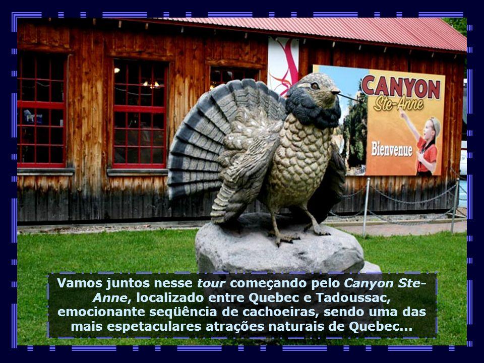 Vamos juntos nesse tour começando pelo Canyon Ste- Anne, localizado entre Quebec e Tadoussac, emocionante seqüência de cachoeiras, sendo uma das mais espetaculares atrações naturais de Quebec...
