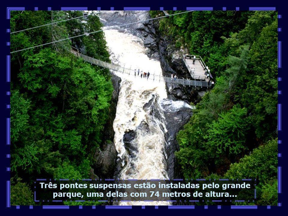 Três pontes suspensas estão instaladas pelo grande parque, uma delas com 74 metros de altura...