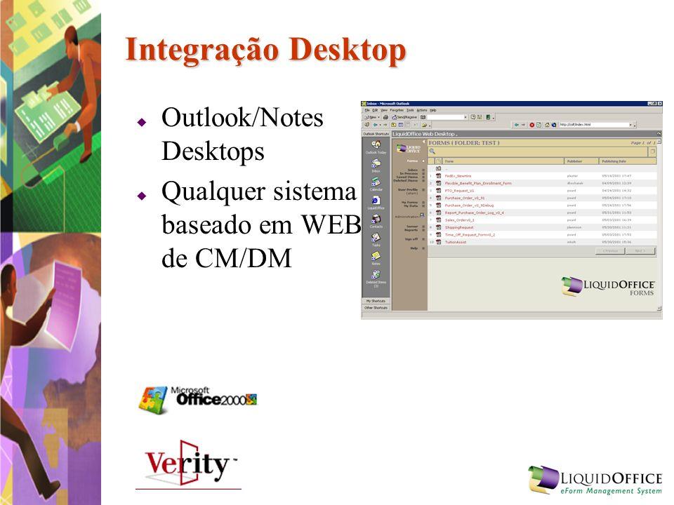 Integração Desktop Outlook/Notes Desktops Qualquer sistema baseado em WEB de CM/DM
