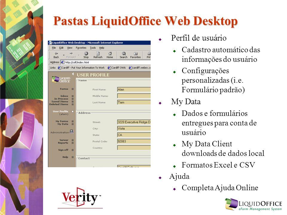 Pastas LiquidOffice Web Desktop Perfil de usuário Cadastro automático das informações do usuário Configurações personalizadas (i.e. Formulário padrão)