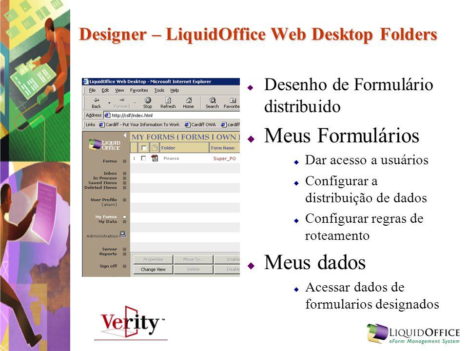 Designer – LiquidOffice Web Desktop Folders Desenho de Formulário distribuido Meus Formulários Dar acesso a usuários Configurar a distribuição de dado