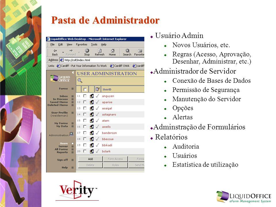 Pasta de Administrador Usuário Admin Novos Usuários, etc. Regras (Acesso, Aprovação, Desenhar, Administrar, etc.) Administrador de Servidor Conexão de